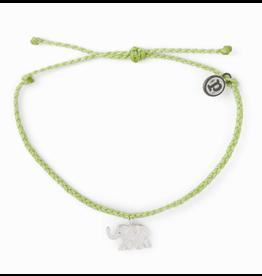 Pura Vida Silver Elephant Bracelet, on Light Green