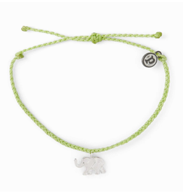 SILVER ELEPHANT Bracelet,  LIGHT GREEN