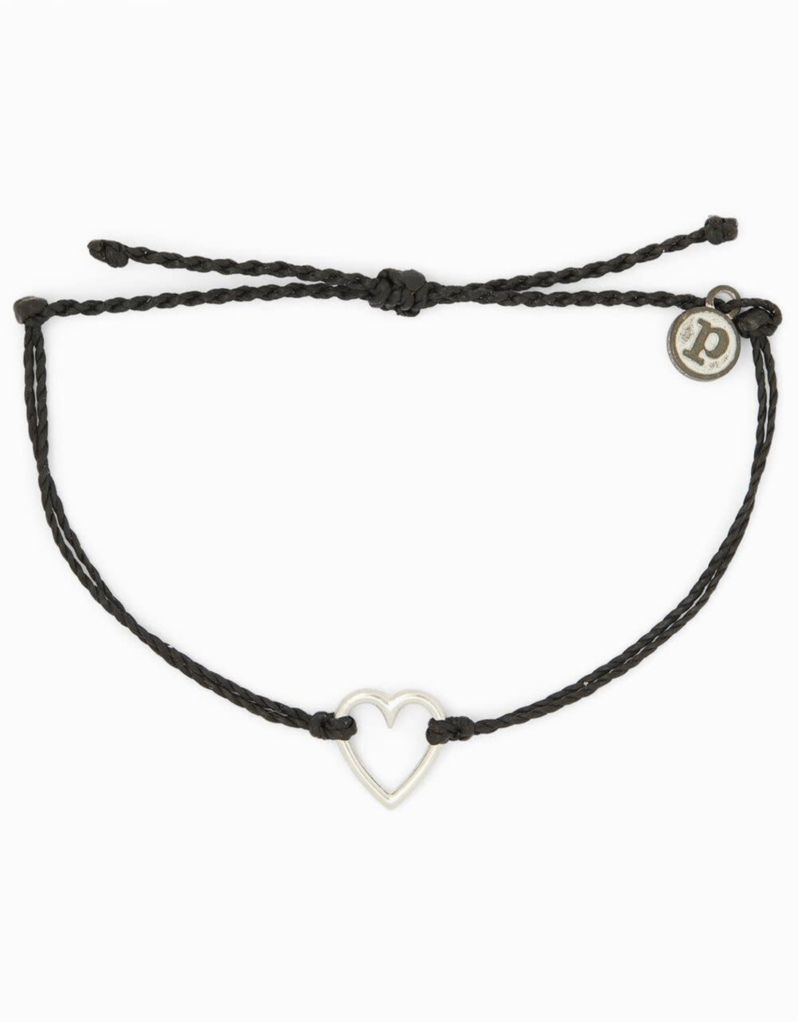 SILVER OPEN HEART Bracelet, BLACK