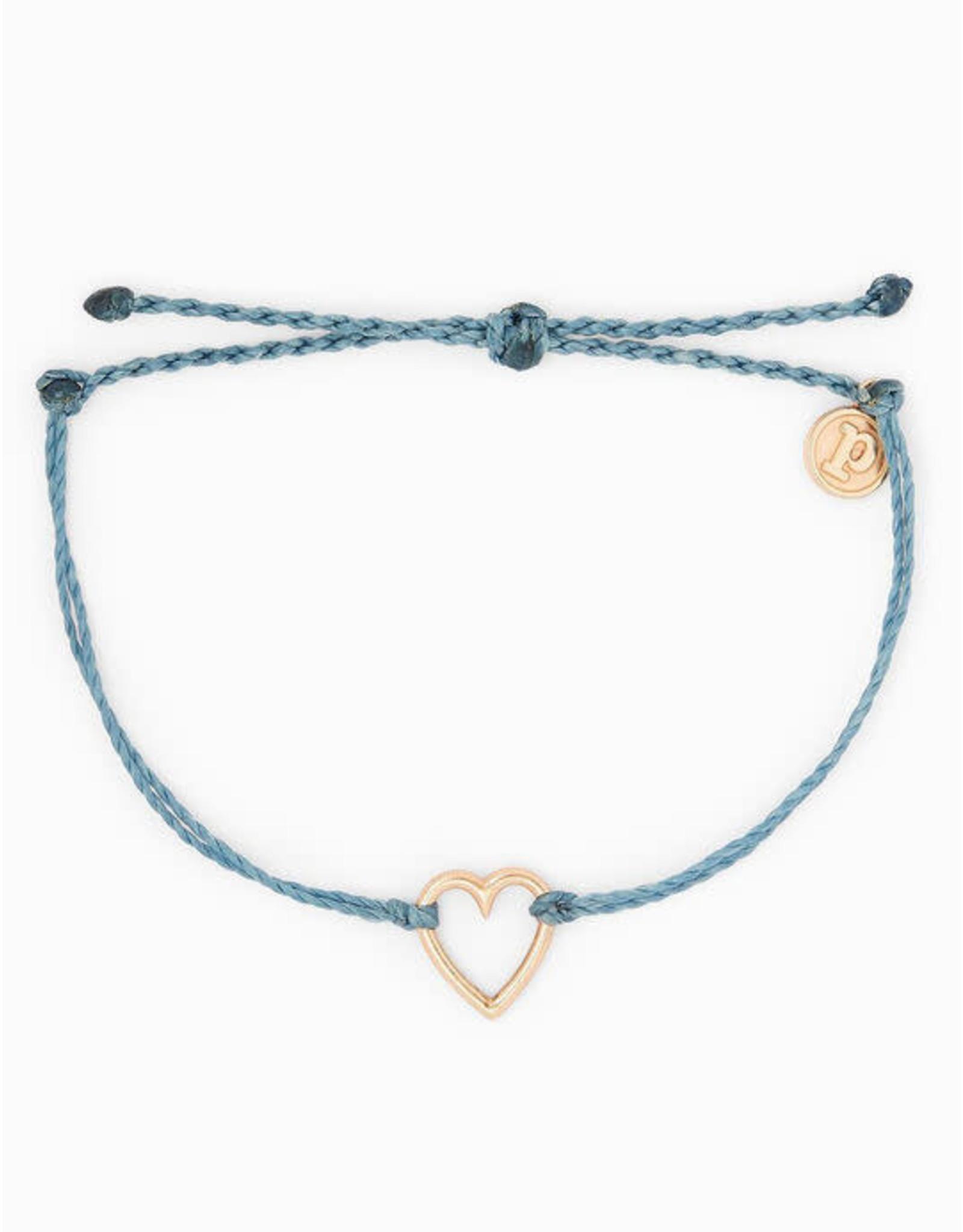 GOLD OPEN HEART Bracelet, BLUE