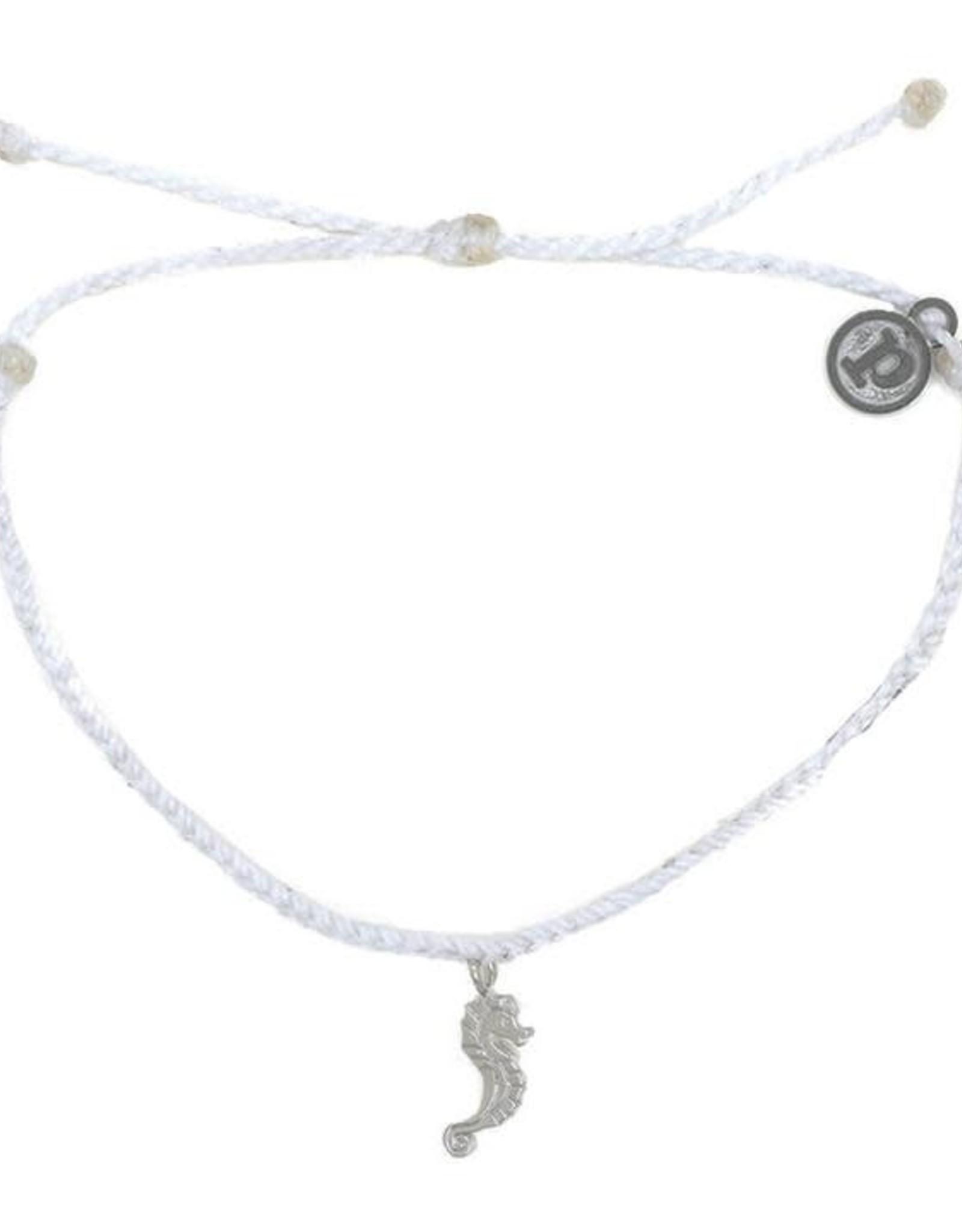 SILVER SEAHORSE Bitty Braid Bracelet, WHITE