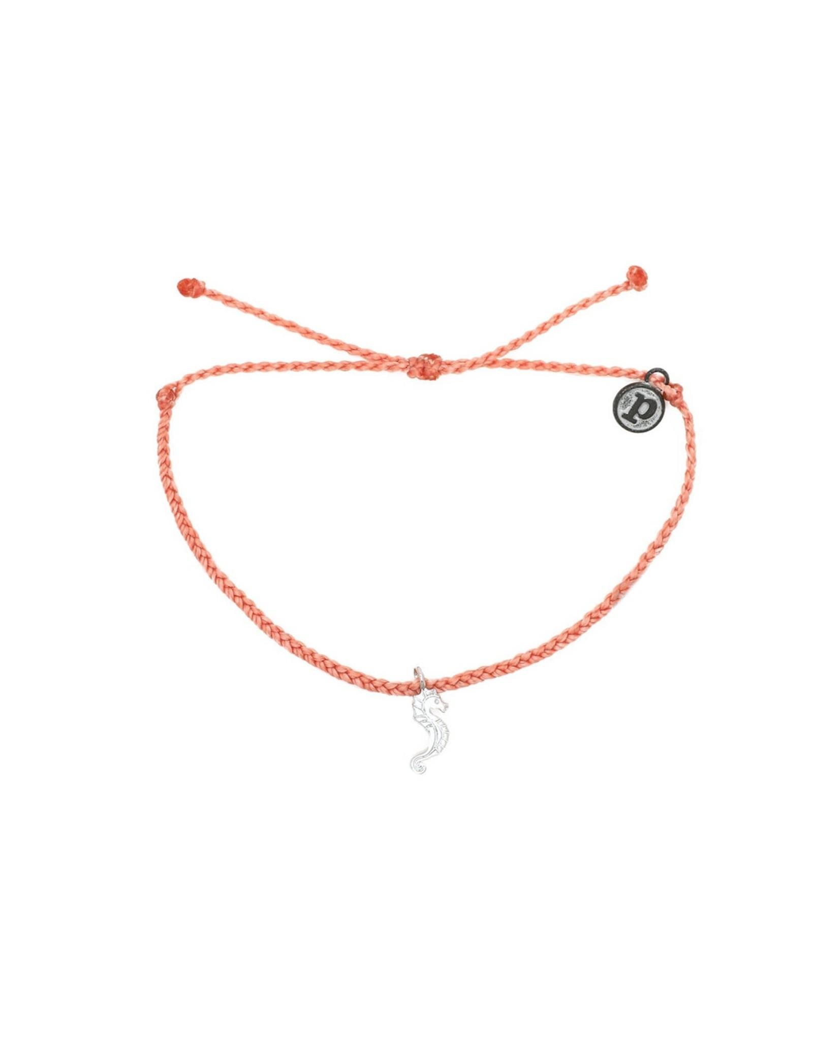 SILVER SEAHORSE Bitty Braid Bracelet,SALMON PINK