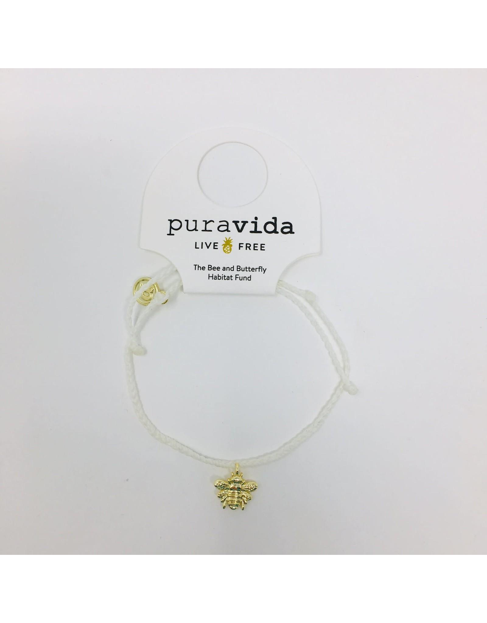 Pura Vida, Gold Bee Bracelet,  on White