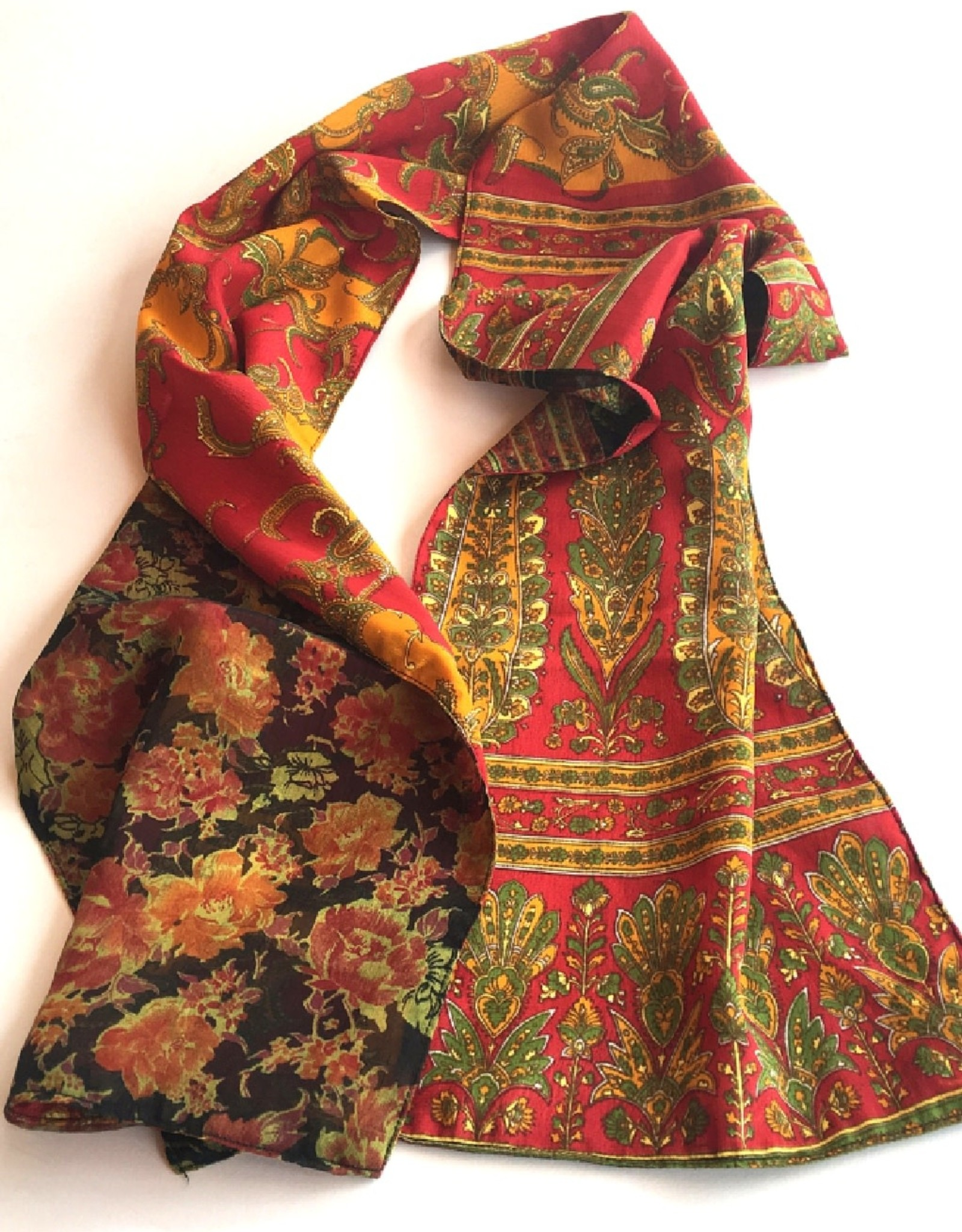 Nepal, Reversible Double Sided Silk Sari Scarf