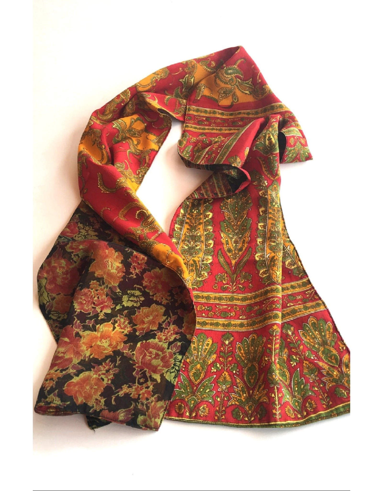 Reversible Double Sided Silk Sari Scarf, Nepal