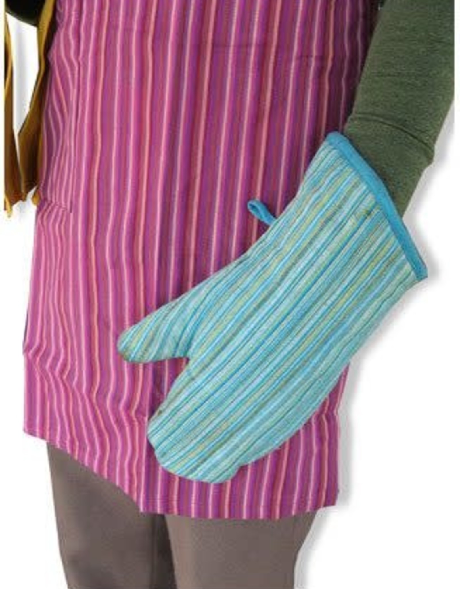 Striped Cotton Oven Mitt
