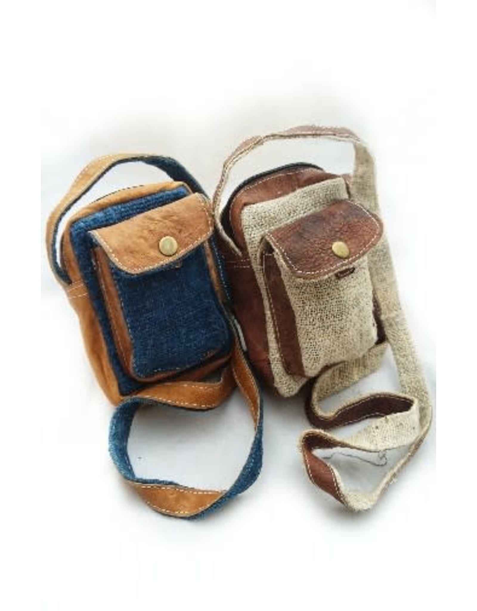 Small Hemp Leather Camera Bag, Nepal