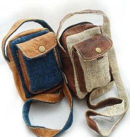 Small Hemp Leather Camera Bag, Nepal