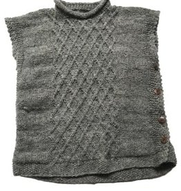 Wool Cable Knit Poncho, Nepal