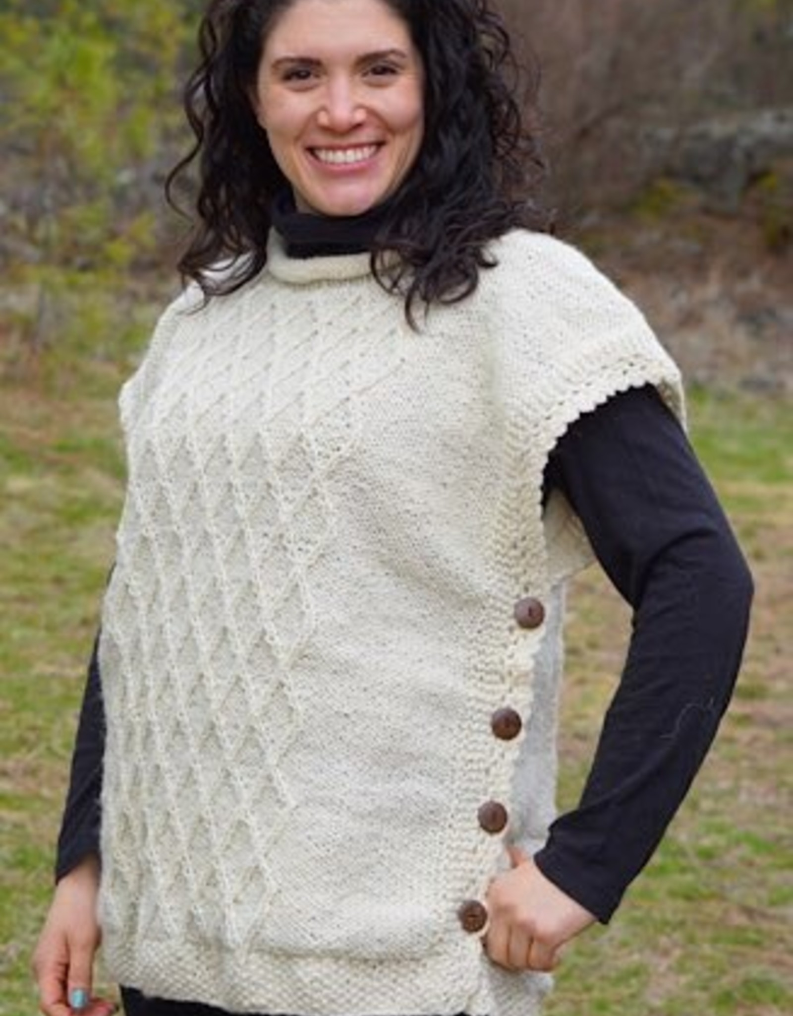 Wool Cable Knit Poncho