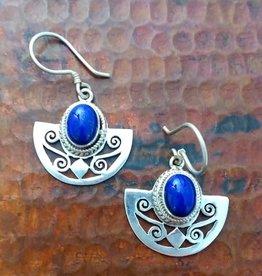 Sterling 1/2 Circle Joli Cut w/ Stone Earrings