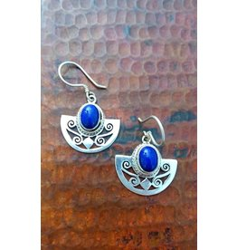 Sterling 1/2 Circle Joli Cut w/ Stone Earrings