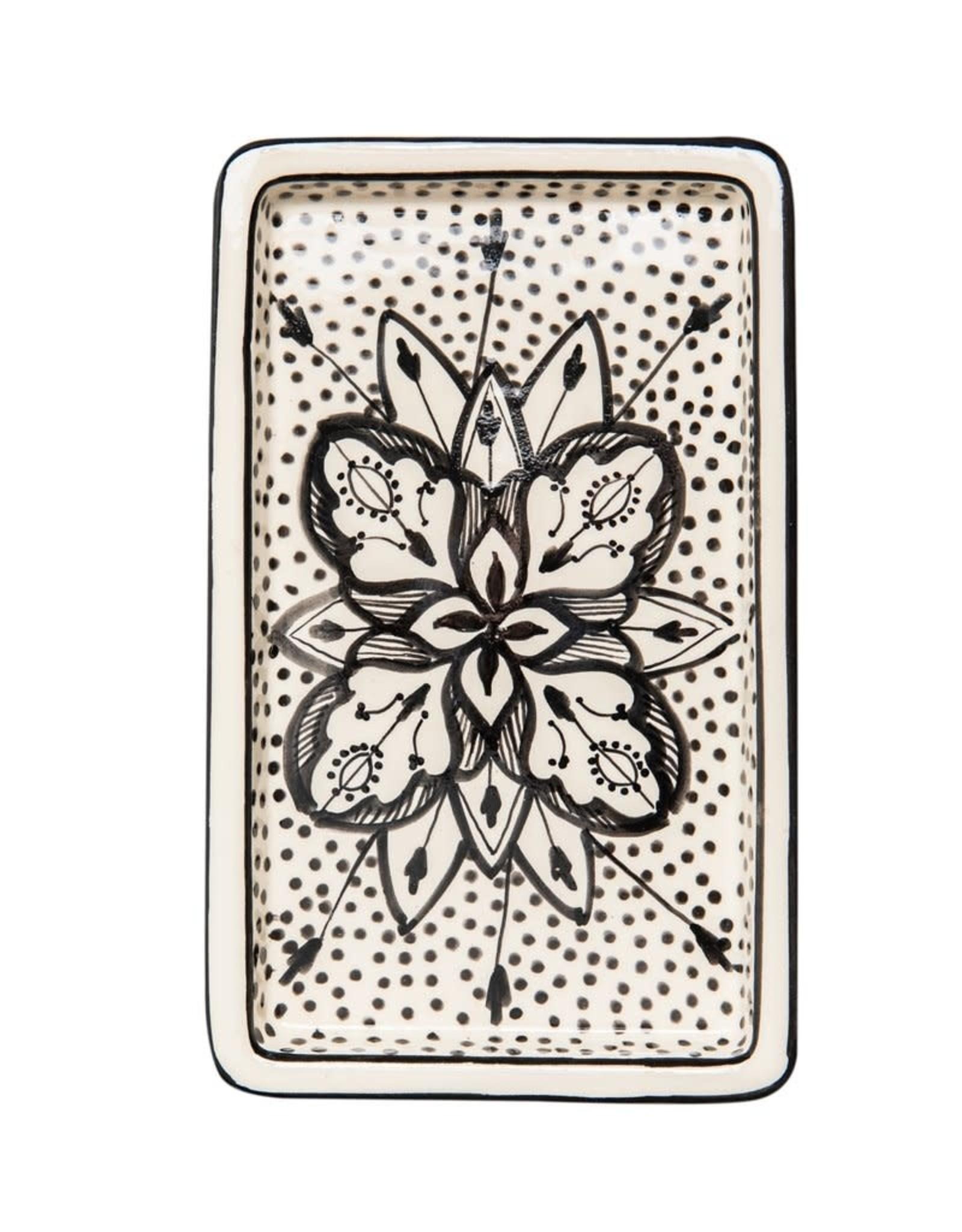 Rectangle Floral Ceramic Plate Black