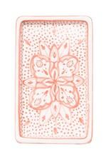 Rectangle Floral Ceramic Plate Pink, Tunisia