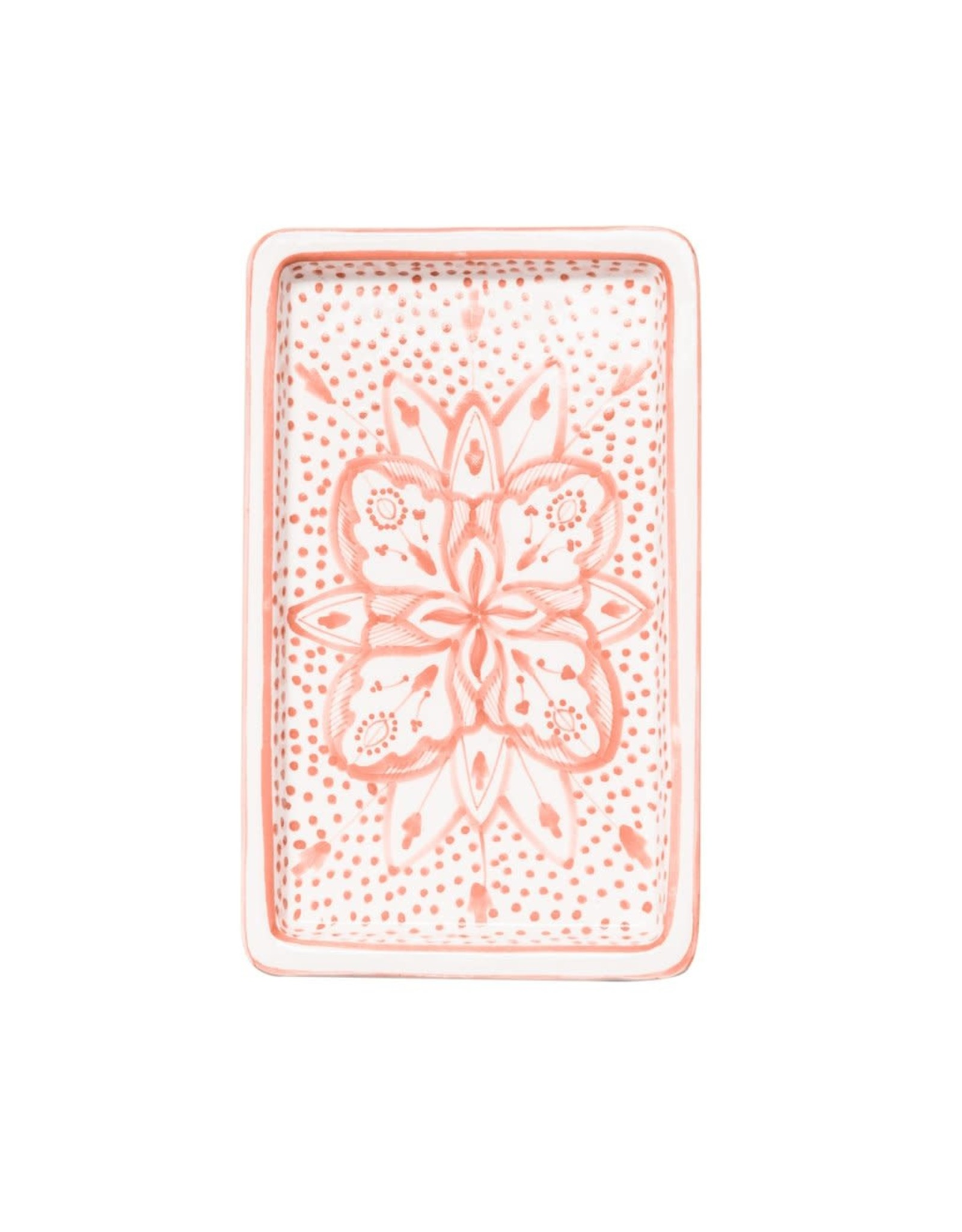 Rectangle Floral Ceramic Plate Pink, Tunisia