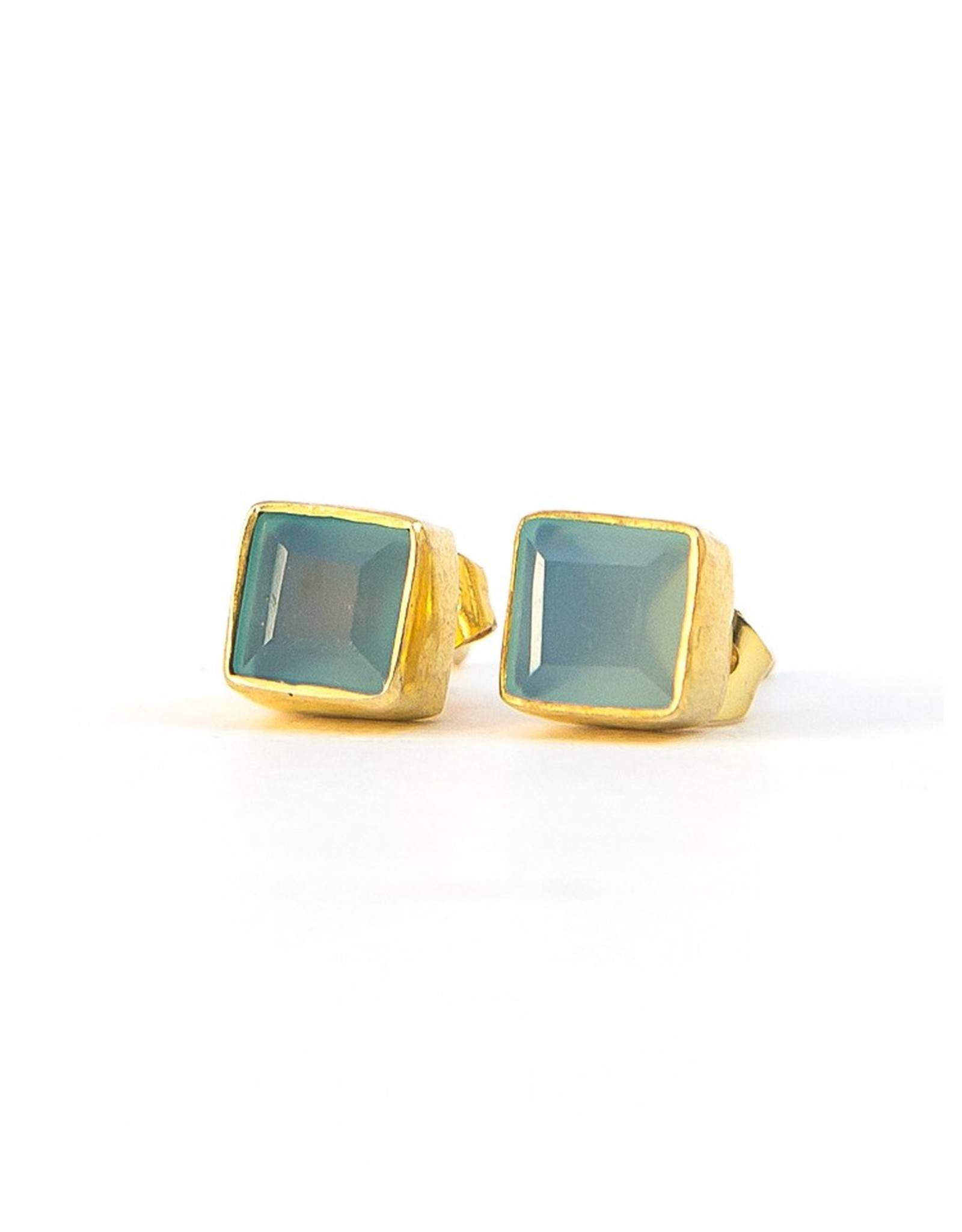 Crystal Waters Studs Chalcedony