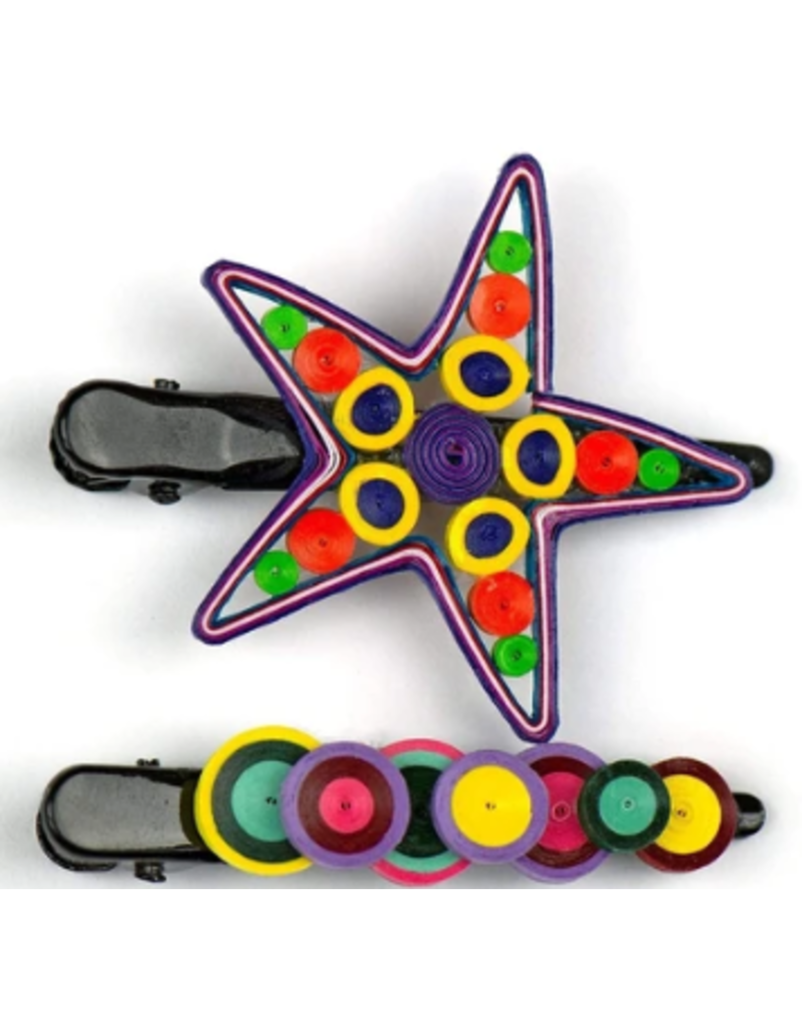Quilled Hair Clips Colorful Star, Vietnam