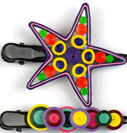 Vietnam, Quilled Hair Clips Colorful Star