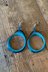 Tagua Fashion Earrings, Aqua