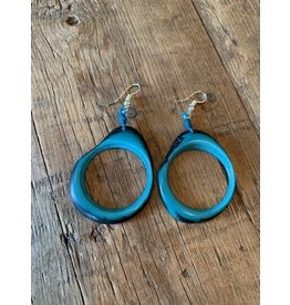 Tagua Fashion Earrings, Aqua, Ecuador