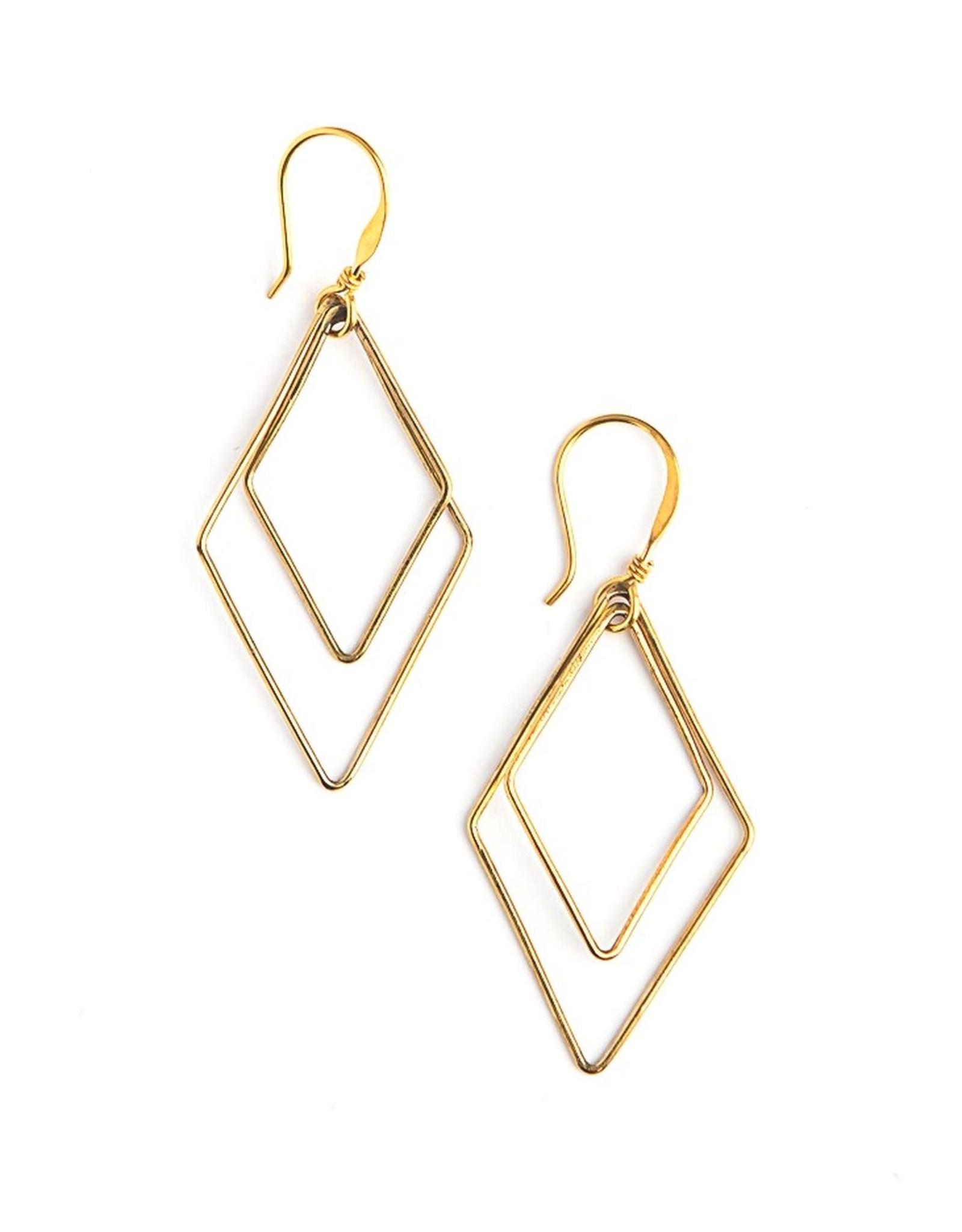 Rhombus Gold Earrings
