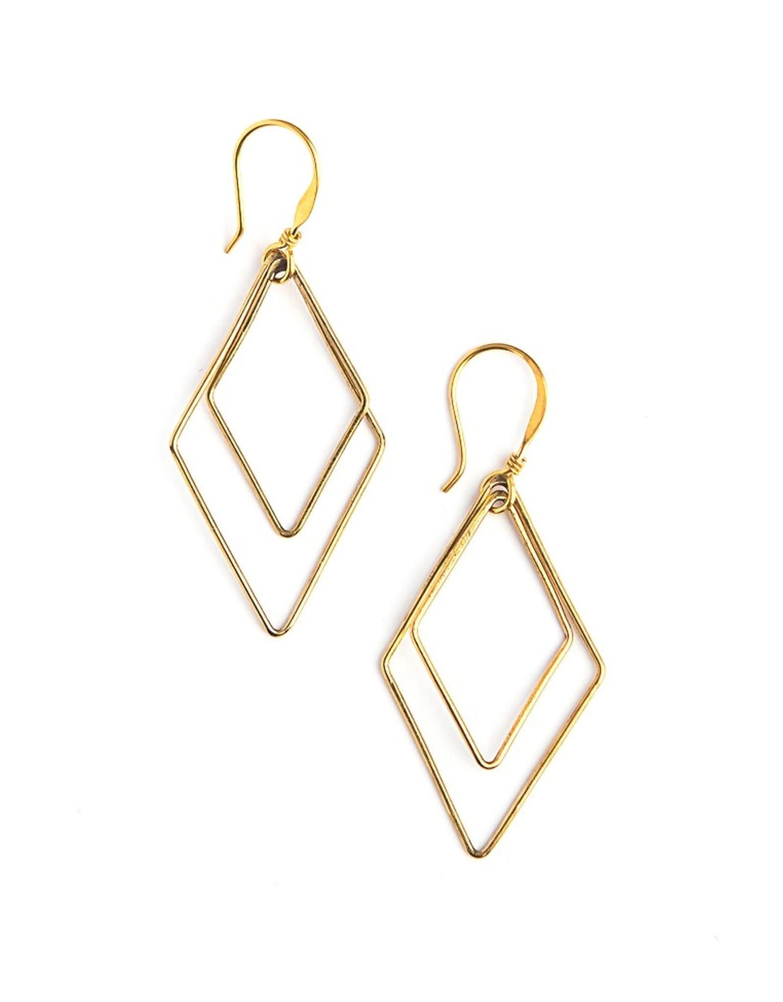 Rhombus Earrings Gold, Mexico