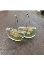 Half Moon w/ Elderberry Flower Earrings