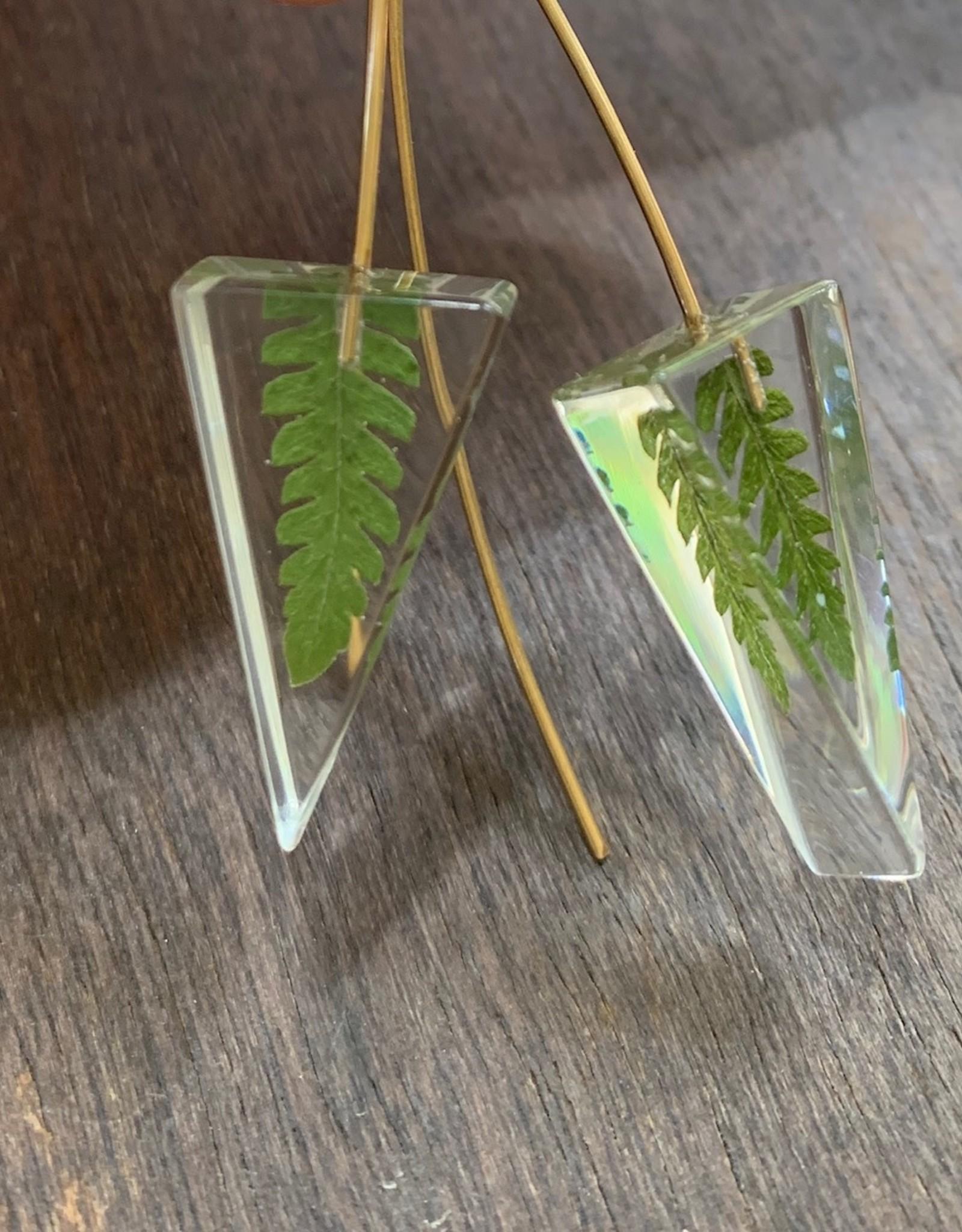 Mini Triangle w/ Fern Earrings