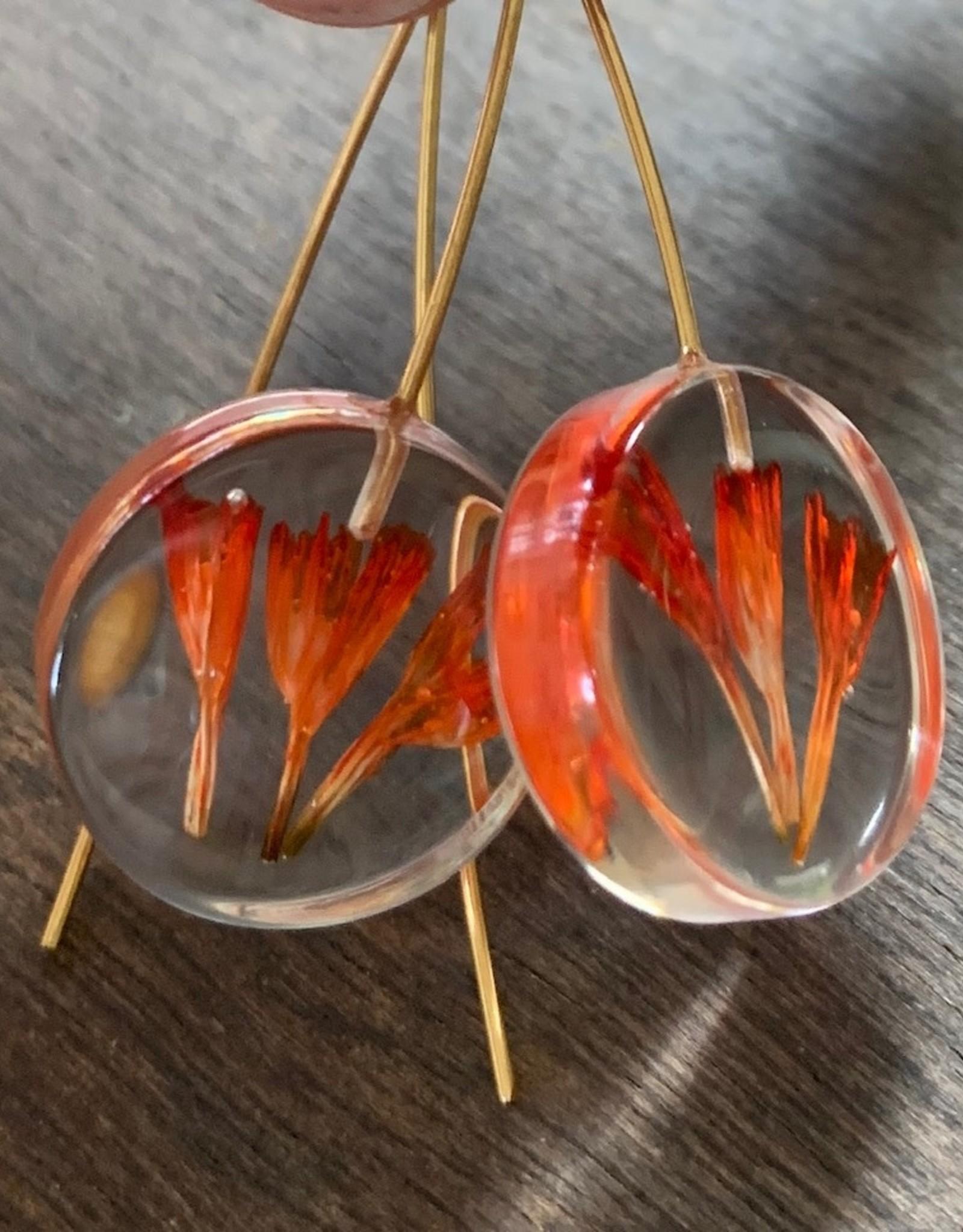 Small Moon w/ Red Statice Limonium Flower Earrings