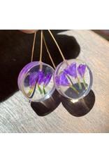 Small Moon Earrings, w/ Purple Statice Limonium Flowers