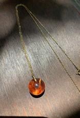 Mini Sphere w/ Tangerine Statice Limonium NecklaceFlower