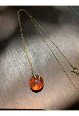 Mini Sphere w/ Tangerine Statice Limonium Flower Necklace, Columbia