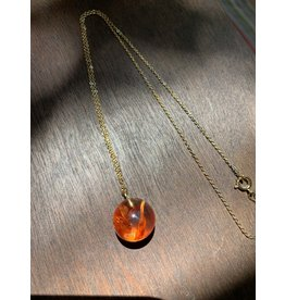 Mini Sphere w/ Tangerine Statice Limonium Flower Necklace, Columbia