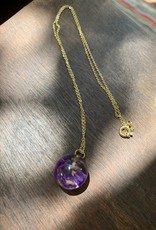 Mini Sphere w/ Purple Statice Limonium Flower Necklace