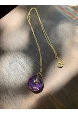 Mini Sphere w/ Purple Statice Limonium Flower Necklace, Columbia