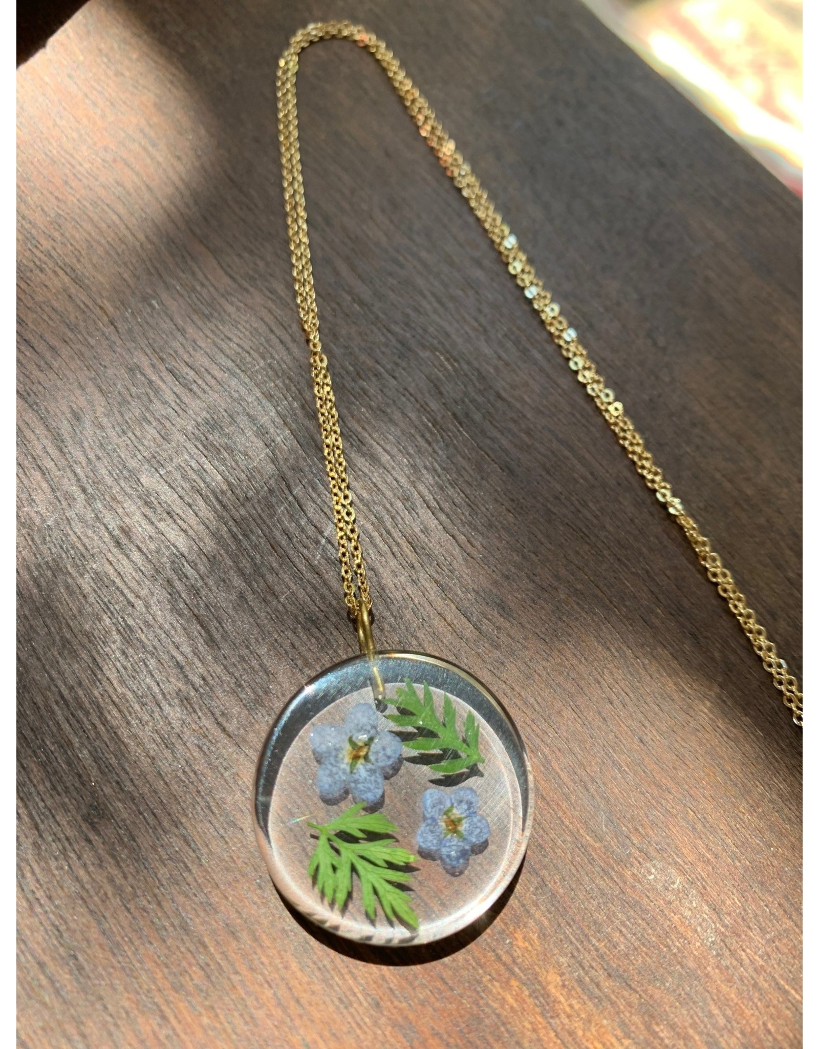 Small Moon w/ Forget Me Not Flowers Necklace, Columbia