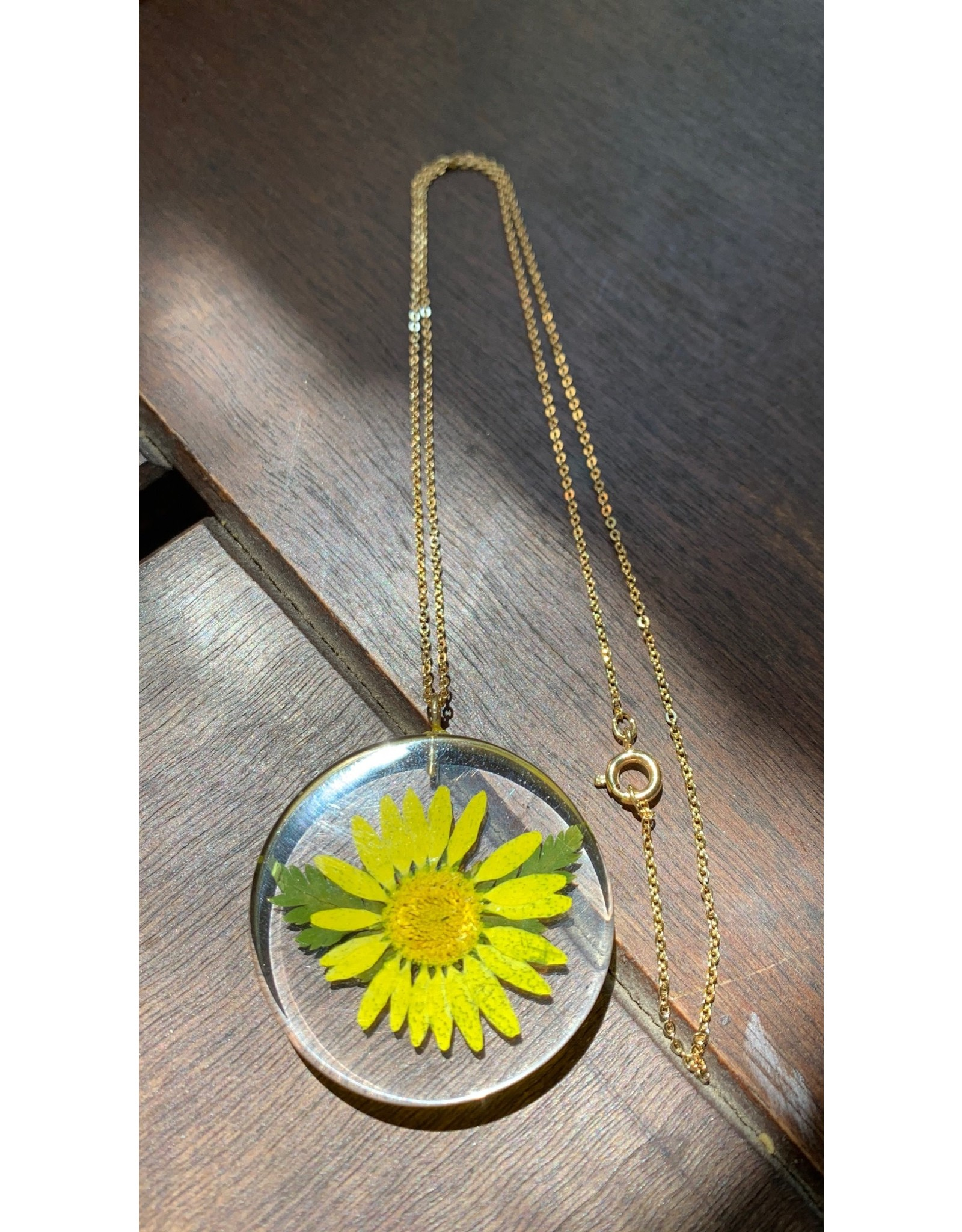 Moon w/ Aster Flower Necklace
