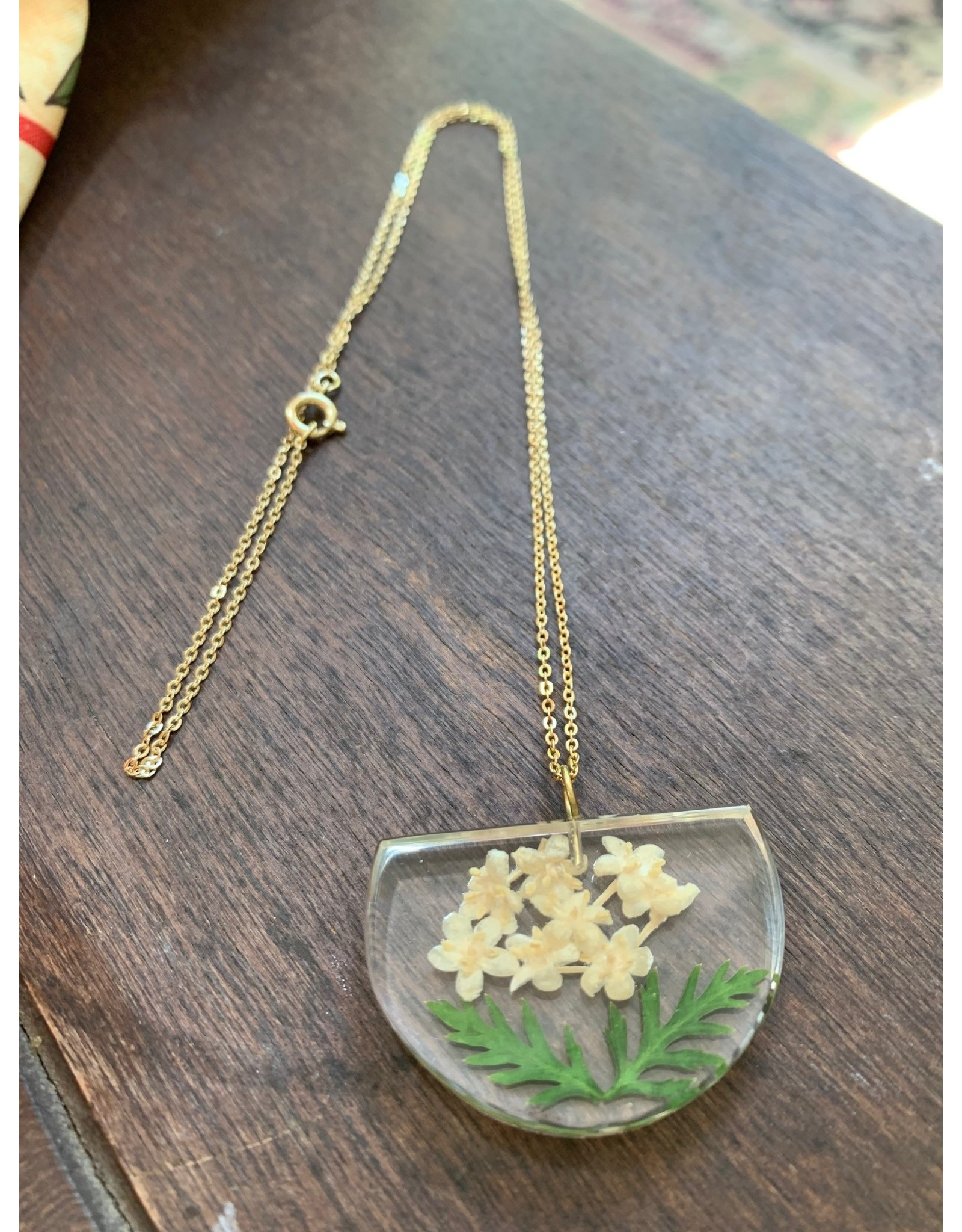 Half Moon Pendant w/ Elderberry Flower Necklace