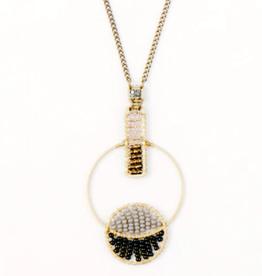 Colorblock Interlocking Hoop Necklace Smoke
