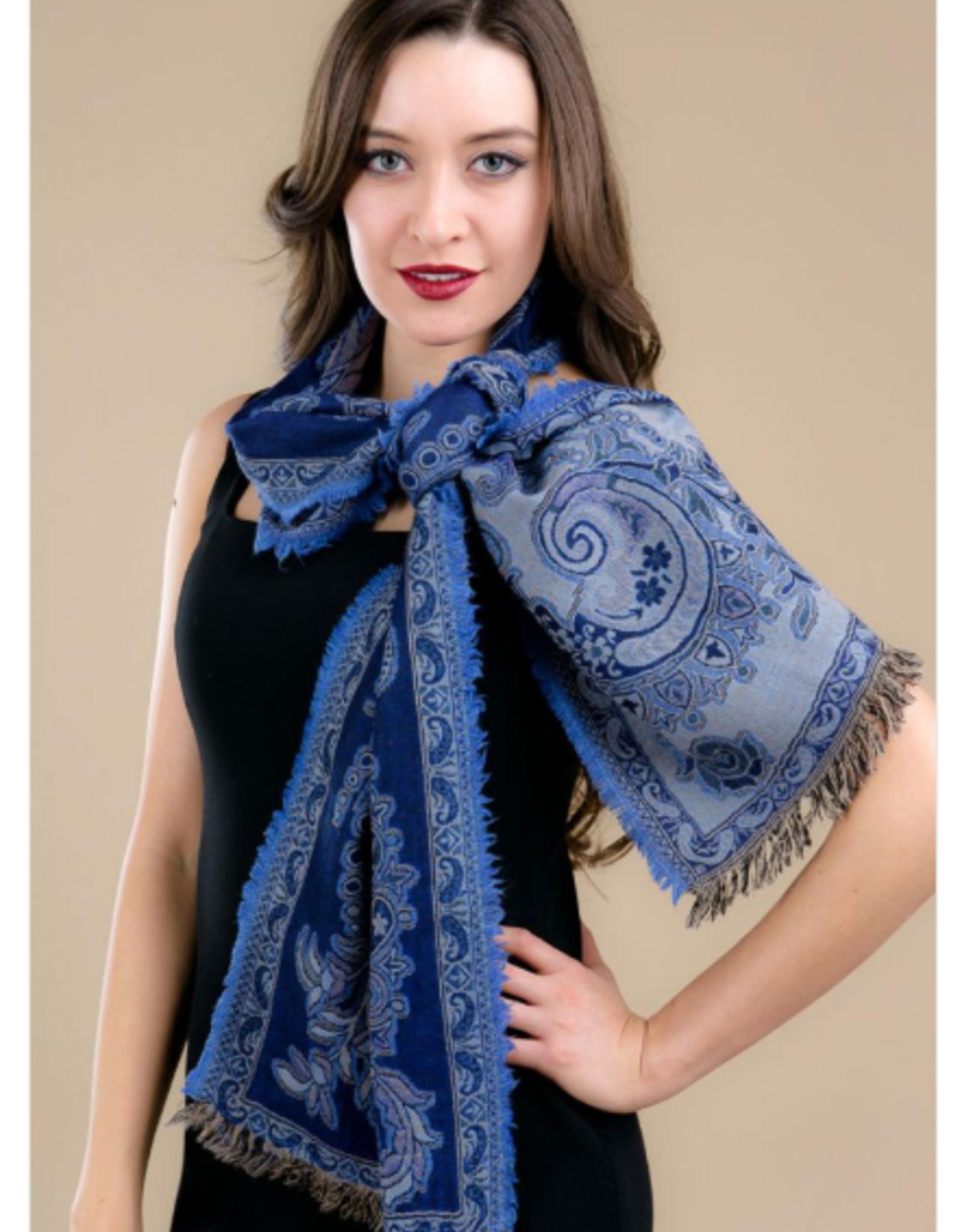 India, Jamevar Wool Scarf Navy Blue