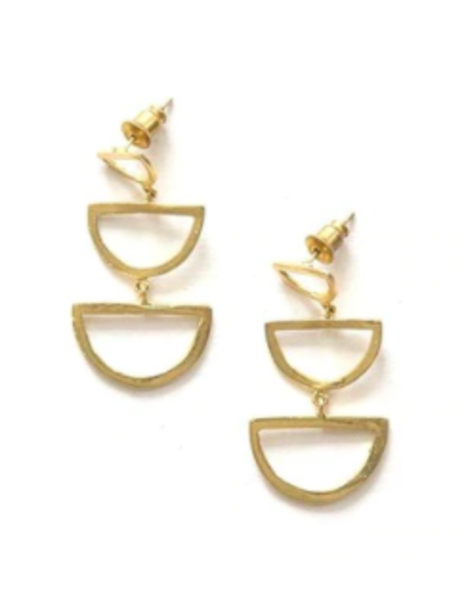 Reverberation Stud Earrings, Brass, India