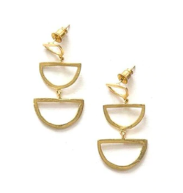 Reverberation Stud Earrings Brass