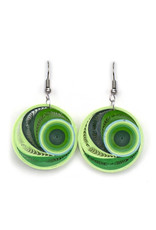 Quilled Earrings Lime Whirl