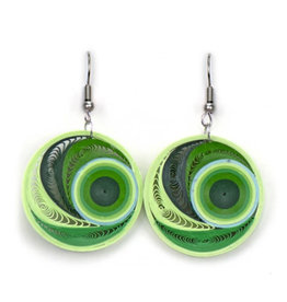 Quilled Earrings Lime Whirl, Vietnam