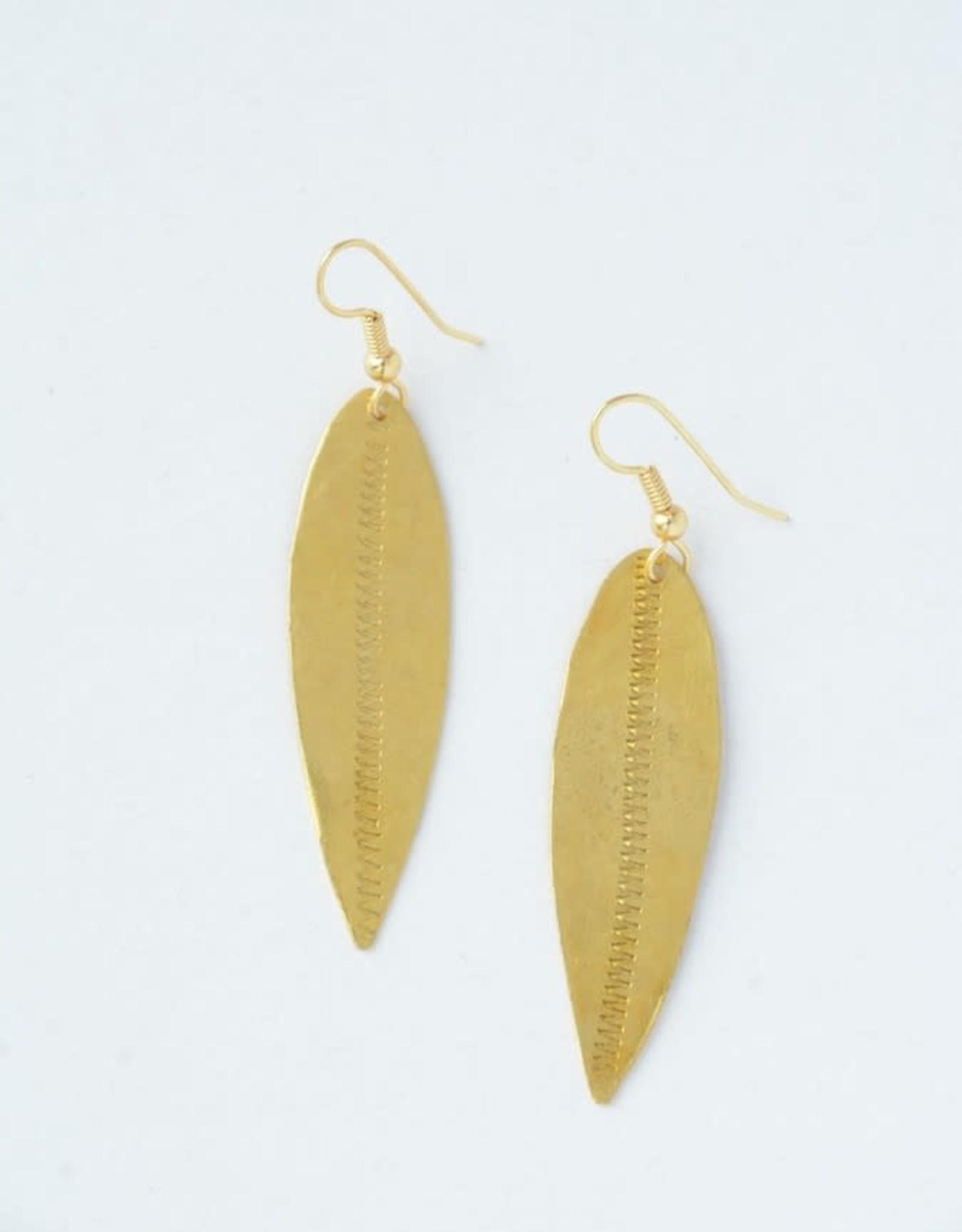 Leaf Dangle Bullet Casing Earrings Brass