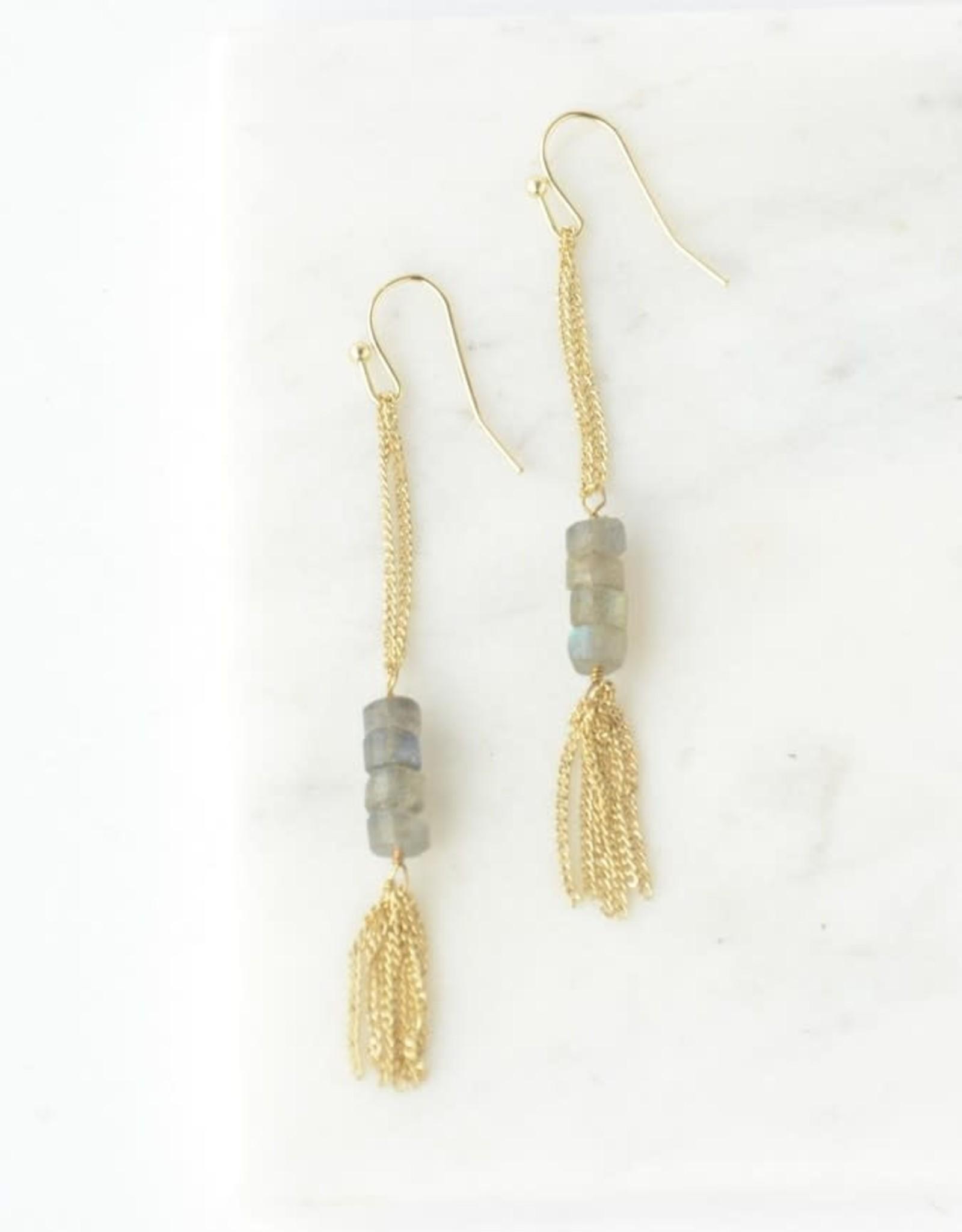 Stepping Stone Earrings Brass