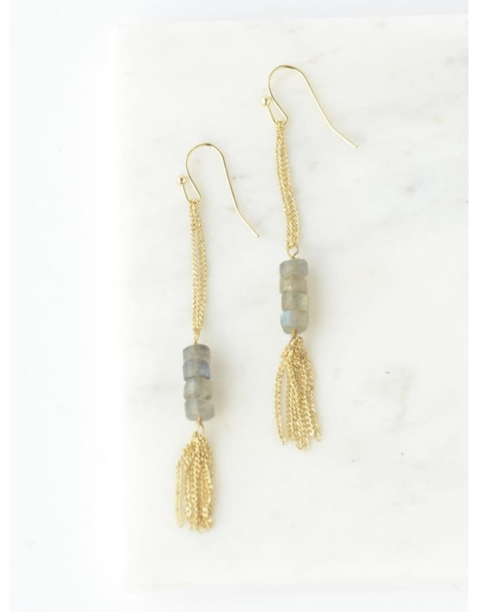 Stepping Stone Earrings Brass, India