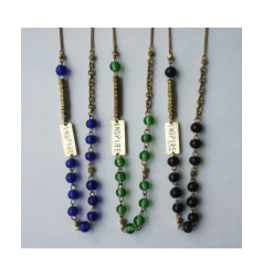 Recycled Glass Inspire Necklace, BLUE, Kenya
