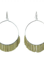Delicate Fringed Chain Hoops  Gold Earrings