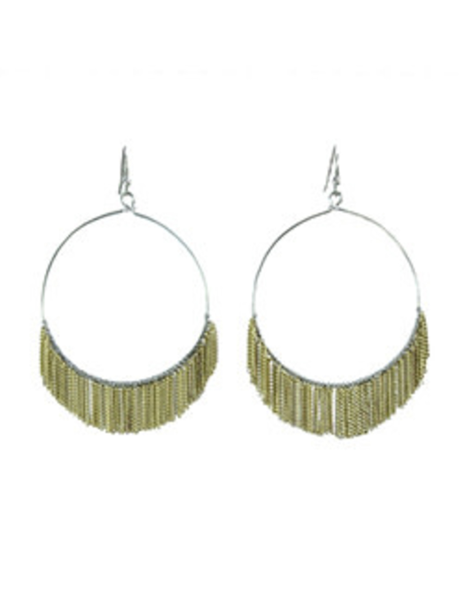 Delicate Fringed Chain Hoops  Gold Earrings
